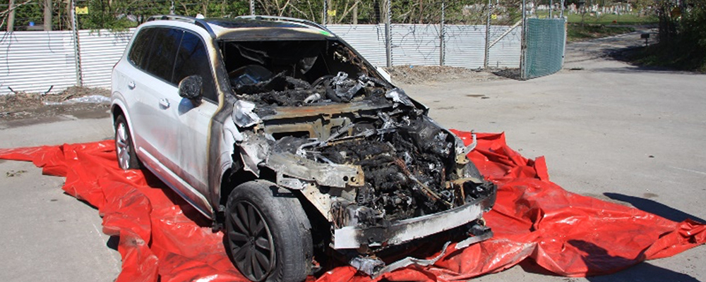 Totaled car from vehicle fire